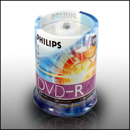Philips DVDR MEDIA 16 X -, 100PCS/PACK, CAKE PAK