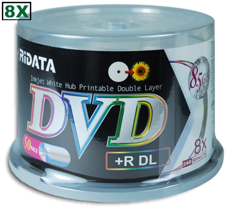 RIDATA 8X DVD+R DL Double Layer Logo Top Spindle - 50 pack Reta